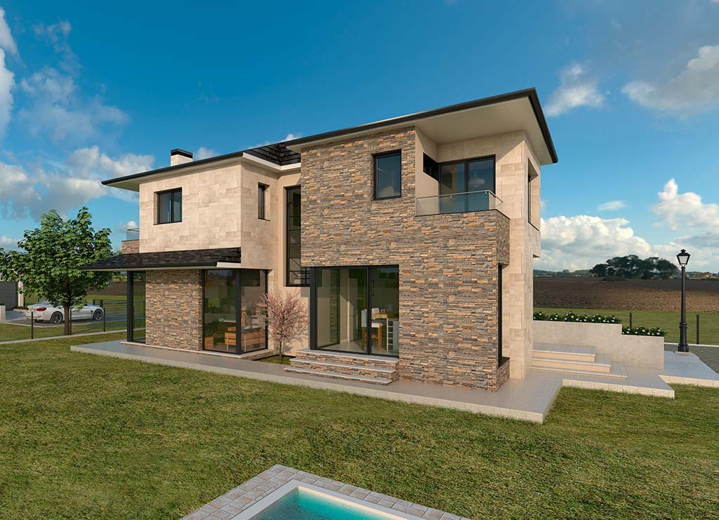 Diseño casa rústica para construcción